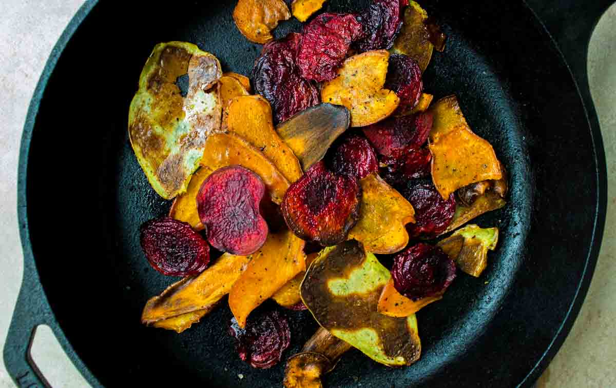 Hot & Colourful Root Vegetable Chips (vegan + gluten-free)