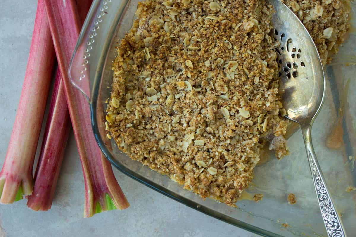 Rhubarb and Apple Crumble (vegan + gluten-free)