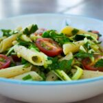 Quick Parsley, Pea and Tomato Pasta (vegan + gf)