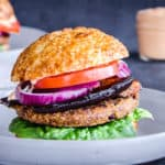 Smoky Eggplant Bean Burger with Garlic Mayo (vegan & gf)