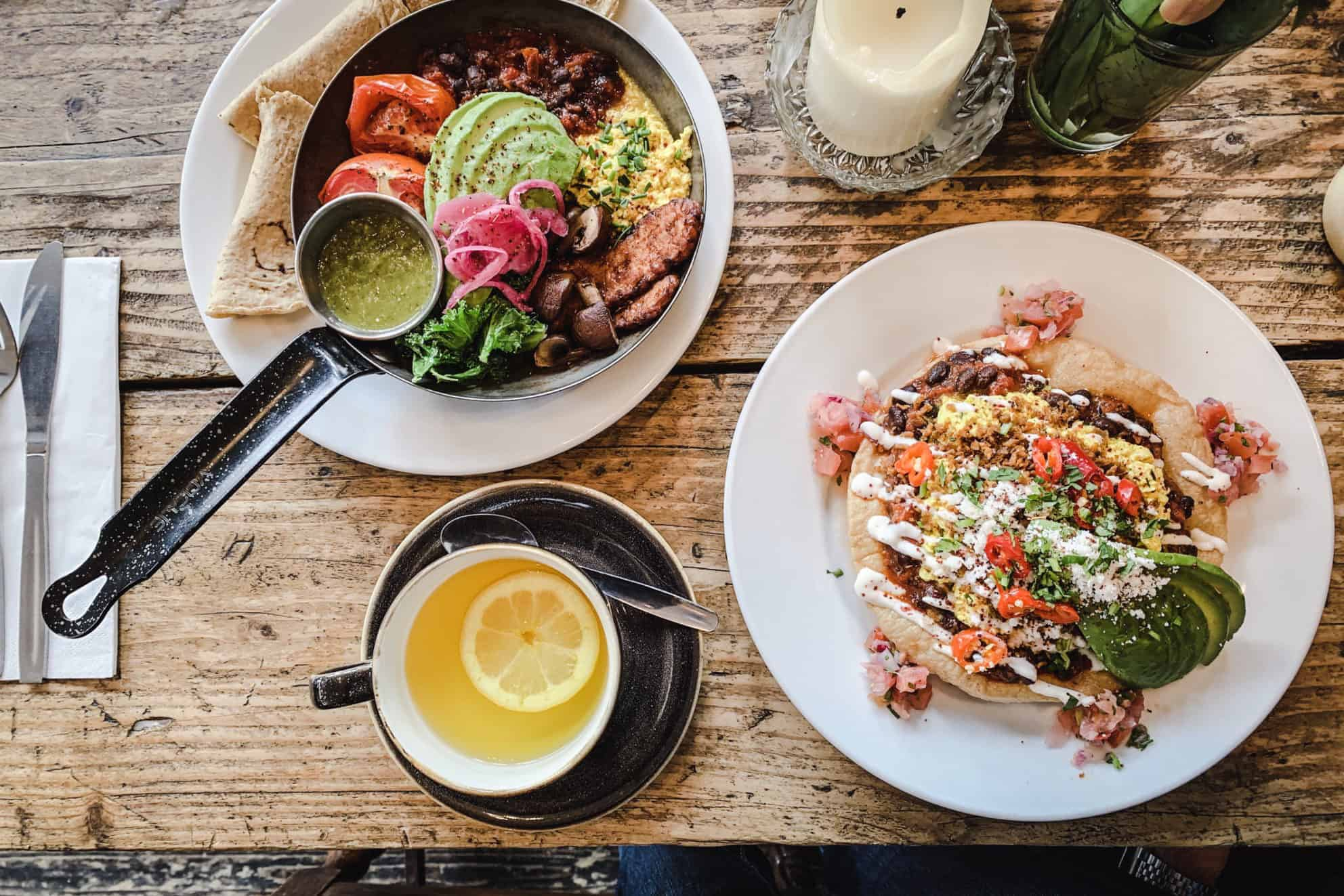 Image of My Favourite Vegan Restaurants in London - overhead shot of Huevos Rancheros and Mexicana Fry Up at The Spreadeagle.