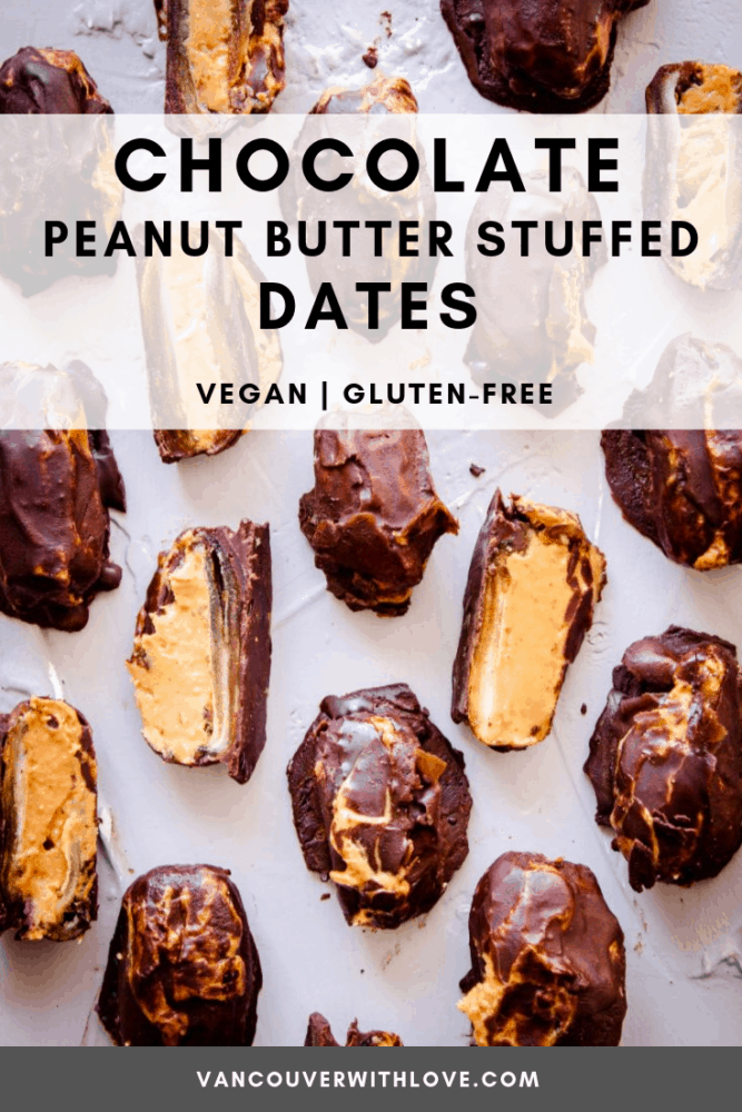 These Chocolate Peanut Butter Stuffed Dates are perfect when you fancy a delicious protein-filled snack but want something healthy too! Made with whole foods, they're vegan and gluten-free. If you're looking for chocolate and peanut butter desserts, you can't go wrong with these sweet stuffed dates. #easyveganrecipes #sugarfree #glutenfree #vegandesserts
