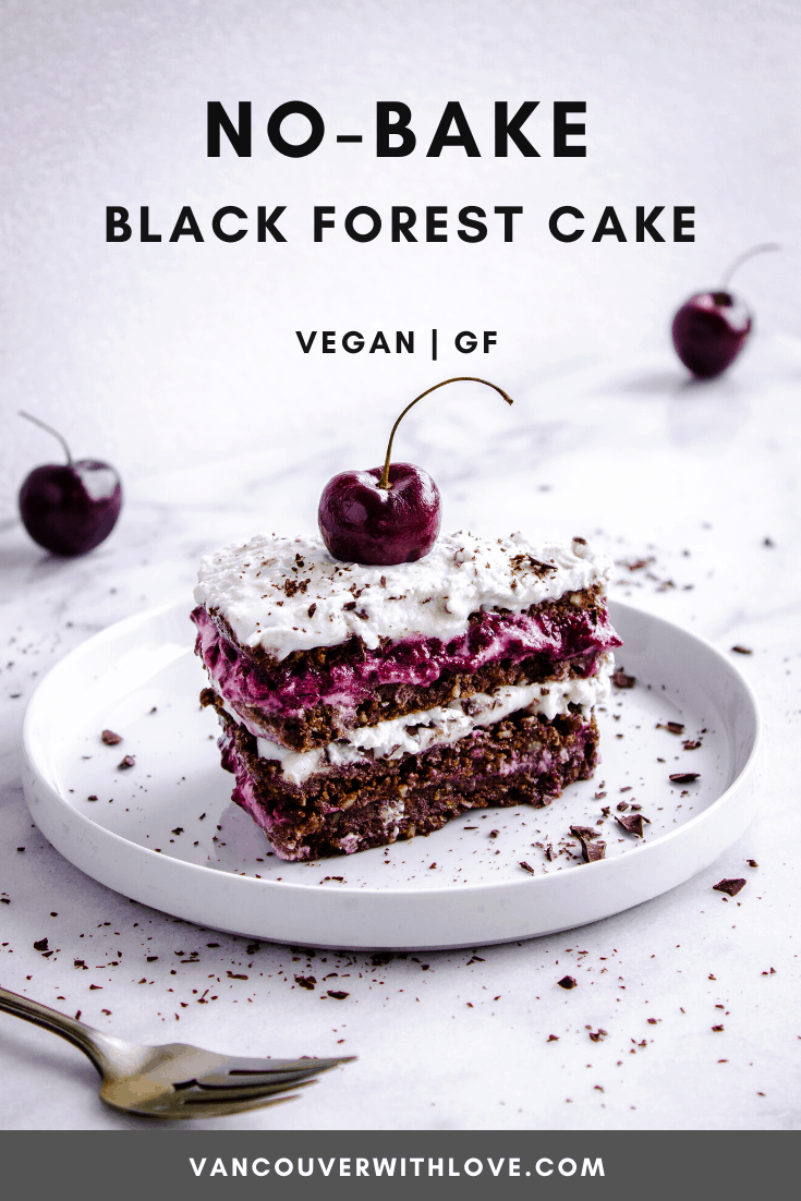 This No-Bake Black Forest Cake is one rich and decadent cake. Homemade raw chocolate cake, cherry jam filling, and topped with whipped coconut cream. The best part? You'll have most of the ingredients in your pantry already so it's the perfect store cupboard recipe! #blackforest #cake #coconut #vegan