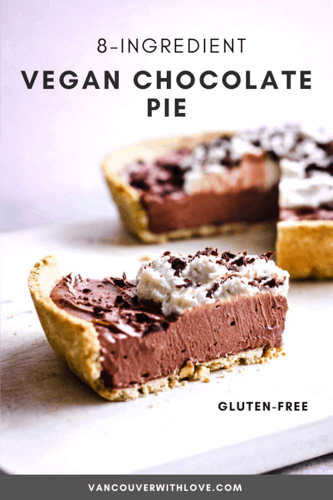 If you're looking for the perfect vegan dessert recipe then look no further! This 8-Ingredient Vegan Chocolate Pie (gluten-free) is the perfect Holiday dessert as it's so easy to make! It's a vegan twist on a traditional chocolate pie made with whole food ingredients (oats, coconut milk, cashews and cacao,) and is naturally refined sugar-free! You'd never know it was healthy though - it tastes so good. #healthydessert #chocolate #govegan #chocolatepie #easyvegnadesserts #christmasdessert