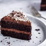 Chocolate Glop Cake - Image of a slice of vegan chocolate cake with shredded coconut on a white plate. In the background is another slice of cake and a silver fork.