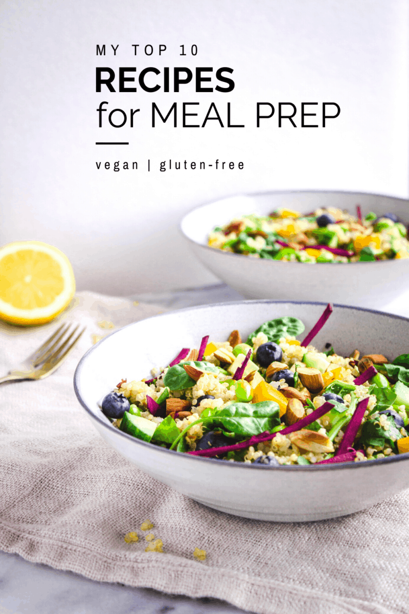 Meal planning isn't traditionally the most fun activity, but with this guide your vegan meal prep will be a breeze! From healthy overnight oats and easy granola bars to power bowls and stew recipes, all recipes are totally gluten free and vegan. #mealprep #mealplanning #detox #vegan #glutenfree #overnightoats #powerbowl #granolabars #january