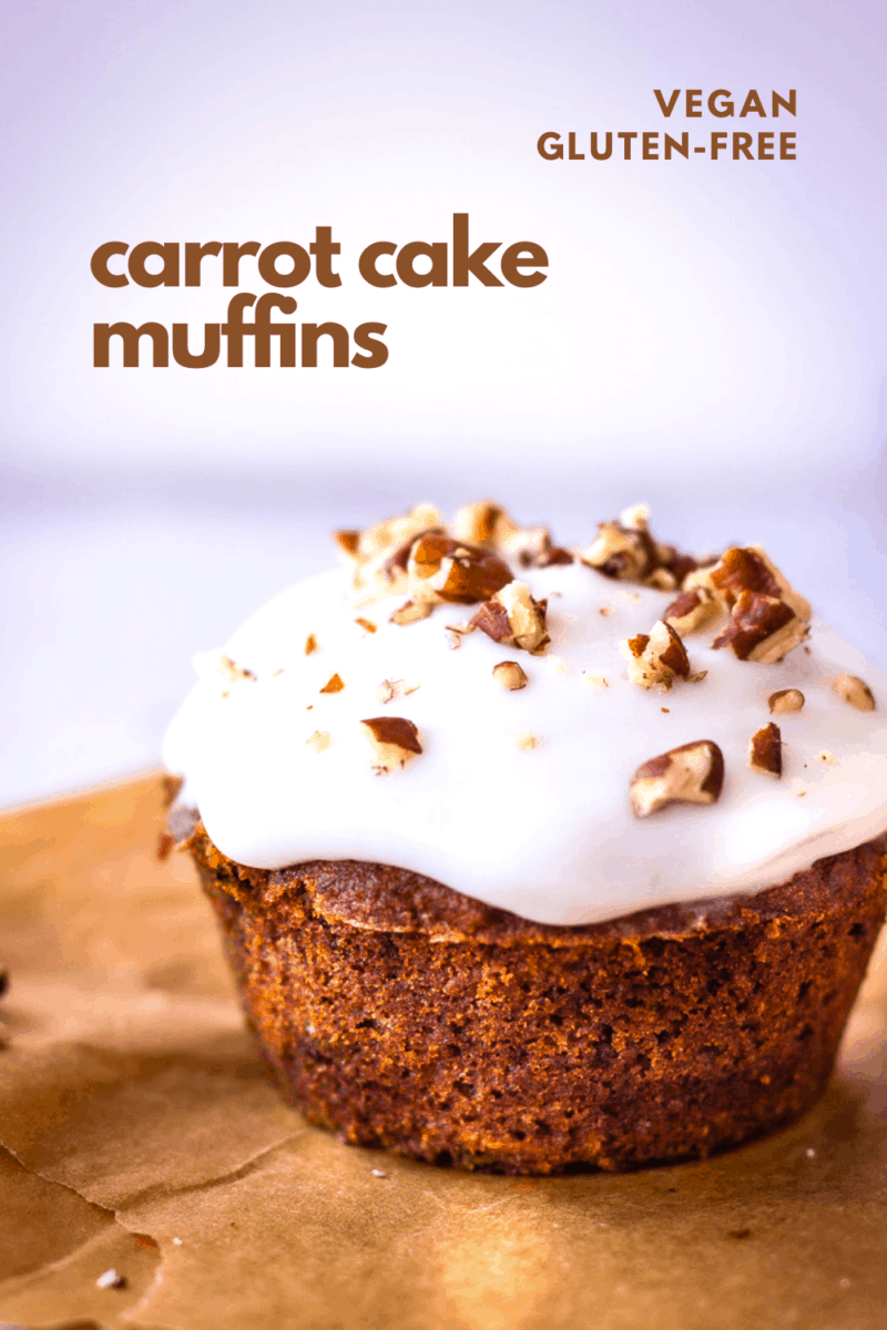 These healthy Carrot Cake Muffins are the perfect vegan breakfast or snack that you'll find yourself making over and over again because they're so tasty! Completely gluten-free and made with whole food ingredients, they're the perfect vegan muffin recipe. #vegan #glutenfree #carrotcake #veganmuffins