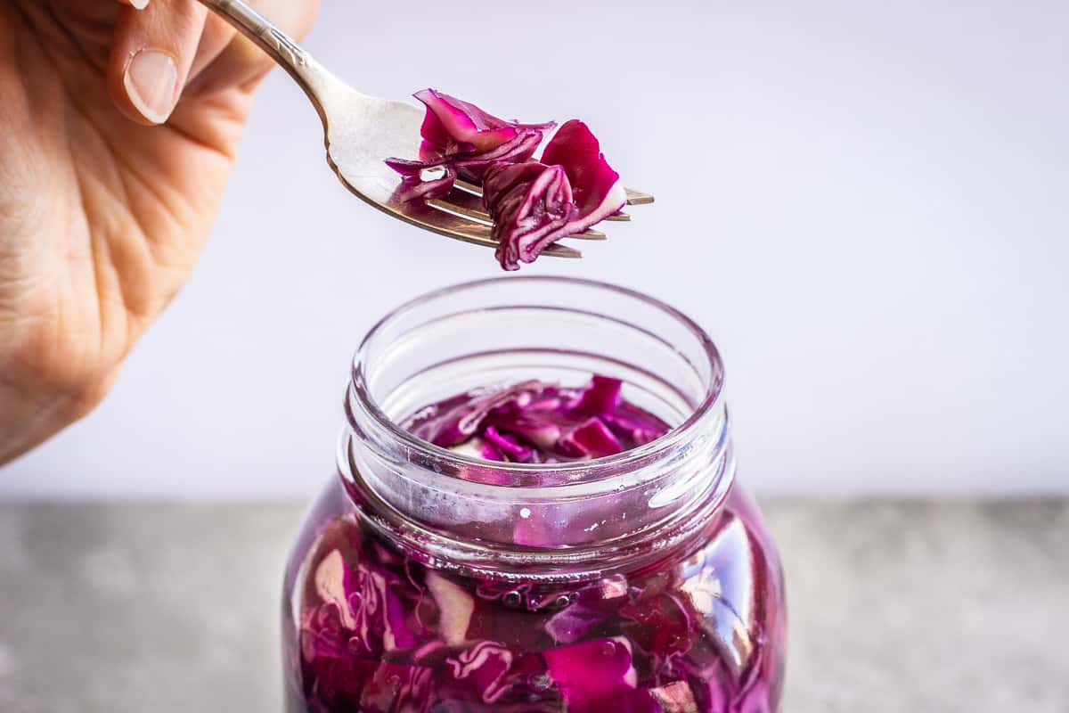Close up shot of homemade sauerkraut. Image shows a fork lifting several pieces of purple sauerkraut out of a glass jar.