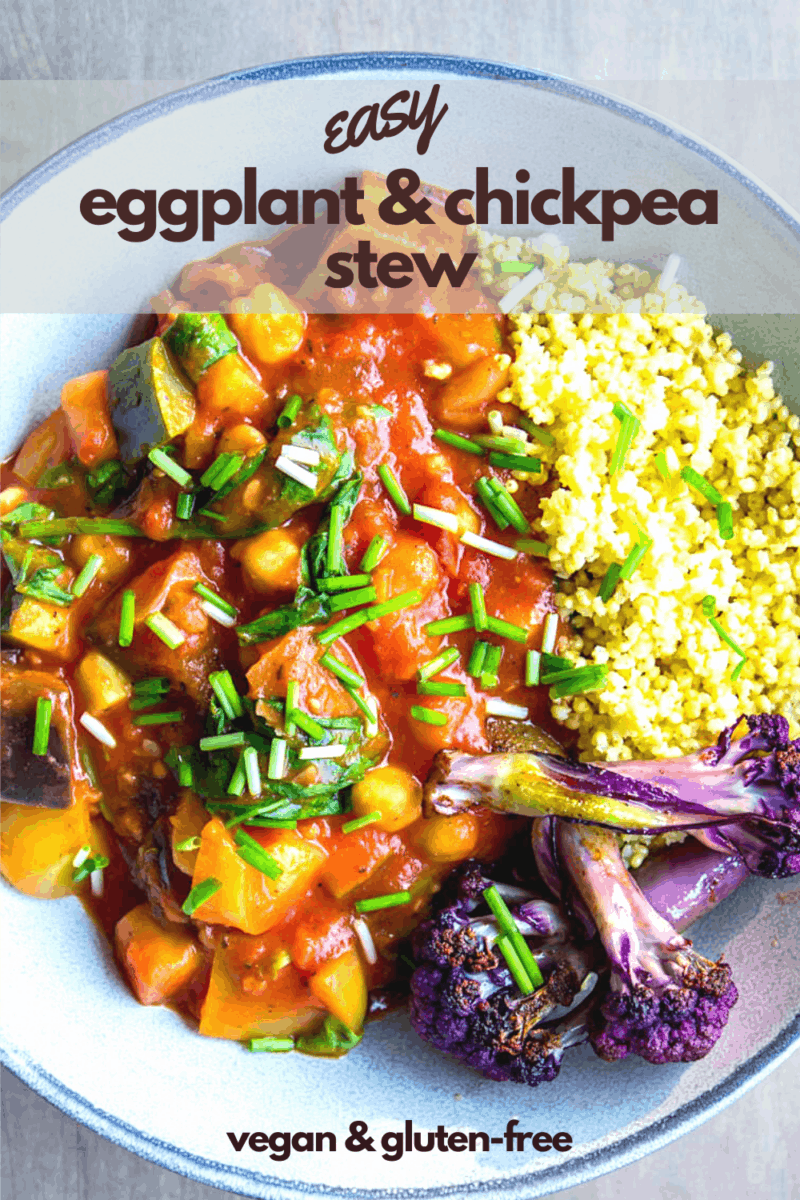 Looking for an easy eggplant recipe? This Easy Eggplant & Chickpea Stew is simple to make and delicious. Taking less than 60 minutes to make, it's filling, high in protein from the chickpeas, and is made with mainly pantry ingredients. #chickpeas #vegan #dinner #eggplant