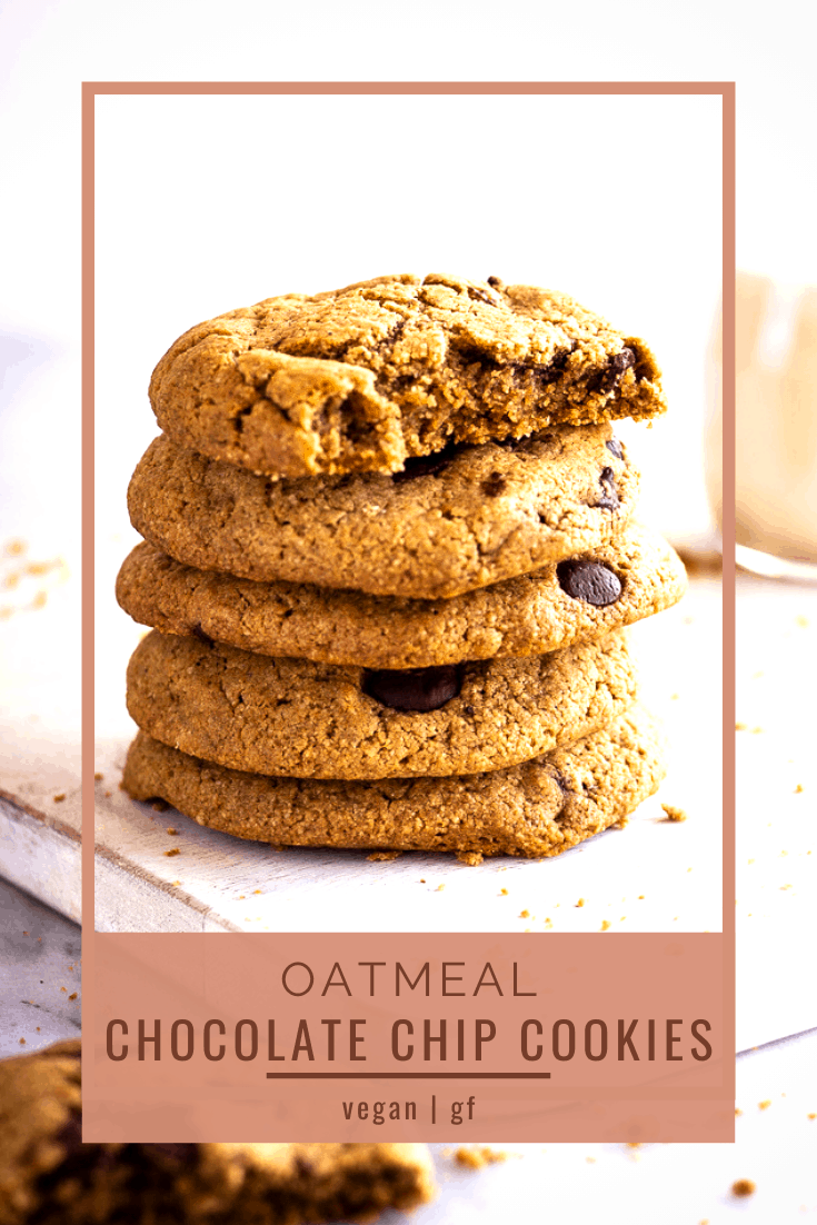 Vegan Oatmeal Chocolate Chip Cookies - crispy round the edges, loaded with chocolate chips and really easy to make; these gluten-free cookies will become your new favourite recipe! Plus, they're made with just pantry ingredients. #vegan #veganbaking #eggfree #vegancookies #cookies