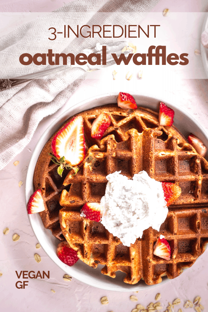 These healthy and incredibly delicious 3-Ingredient Oatmeal Waffles will satisfy your waffle cravings and fuel your day. Made with just 3 whole food ingredients and without refined sugars, these vegan, gluten-free waffles are the perfect healthy breakfast recipe. #waffles #wafflerecipe #oatmealwaffles #vegan #healthybreakfast #breakfast #oatmeal