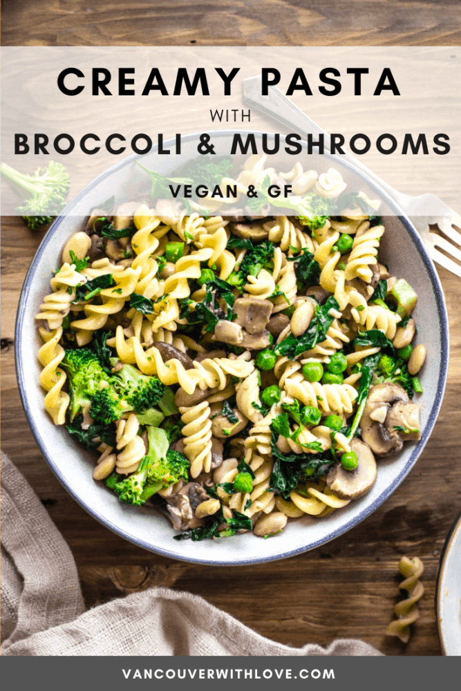 For the quickest healthy vegan dinner, try this Creamy Pasta with Broccoli & Mushrooms. It's the perfect meal for Veganuary! Containing just 8 ingredients and taking 35 minutes to make, it's a great easy vegan recipe which is also gluten-free. If you're looking for a healthy pasta recipe, look no further! #easyveganrecipes #dinnerrecipes #pasta #govegan #vegan