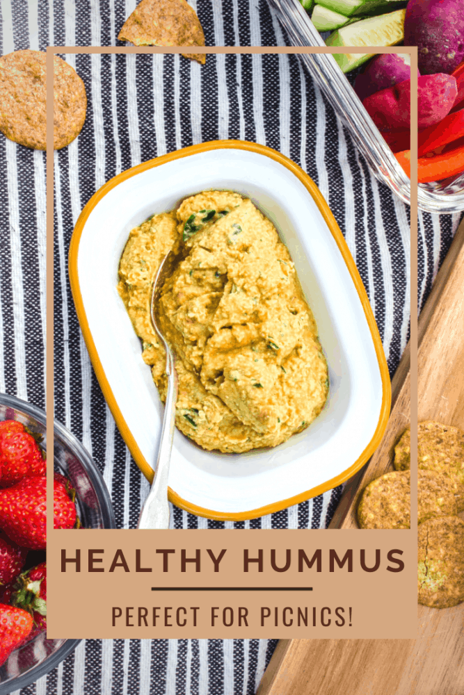 This healthy hummus is my favourite vegan picnic food! Taking 10 minutes to make, it's dairy-free, gluten-free and tastes delicious. Use it as a dip, in sandwiches or on top of salads. #hummus #vegan #picnic #glutenfree #picnicfood