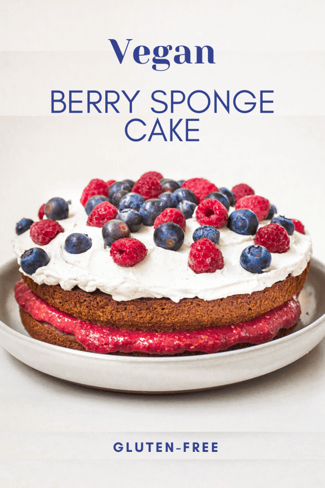 A vanilla sponge recipe made with entirely vegan and gluten free ingredients. Moist, rich in flavour and delicious, this one-bowl vegan berry sponge cake is light, fluffy and easy to make. Raspberry jam and coconut whipped cream are sandwiched between Victoria sponge cakes for a mouthwatering yet healthy dessert. #victoriasponge #vegancake #cake #vegan #glutenfree