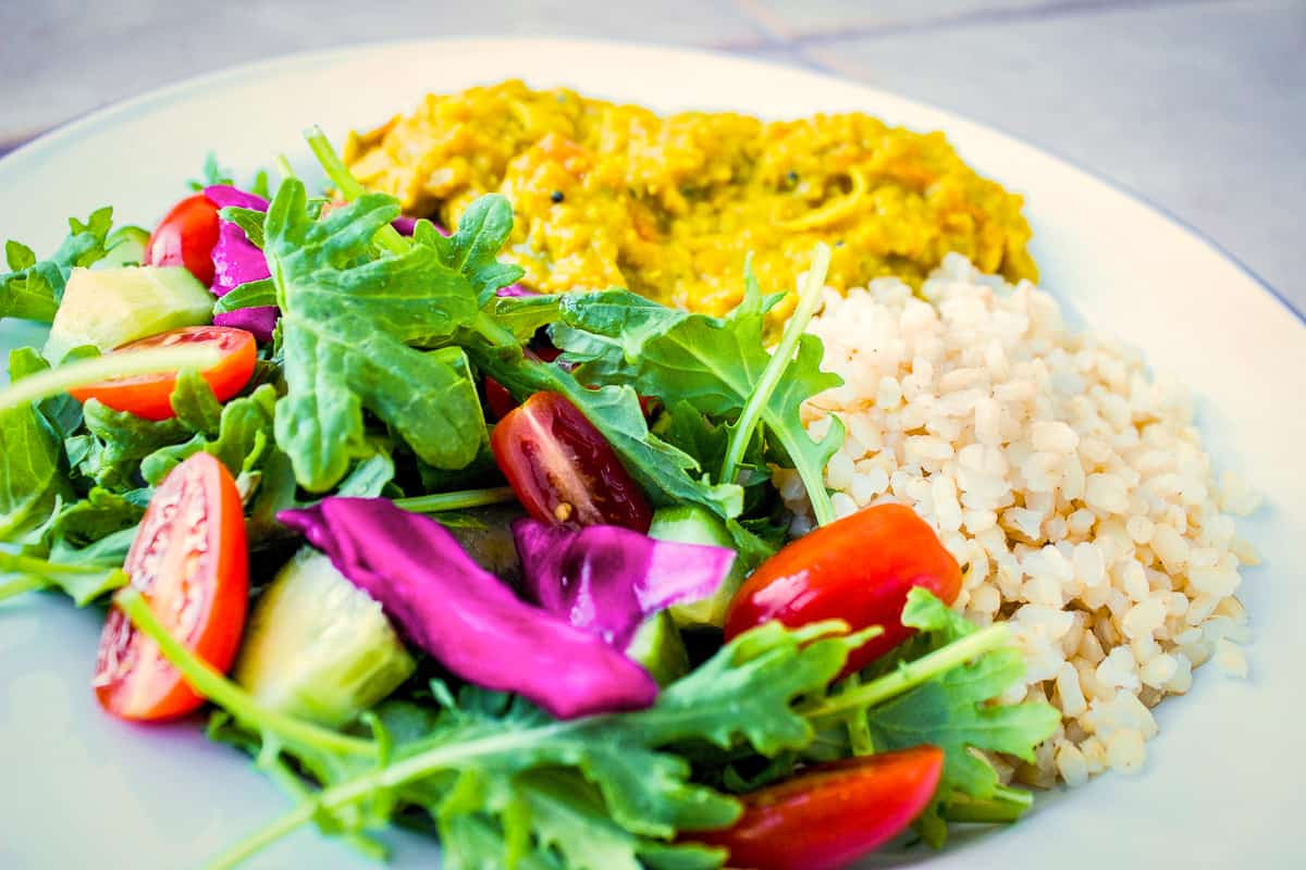 Close up image of Red Lentil Dhal on a white plate, accompanied by brown rice and a colourful side salad.