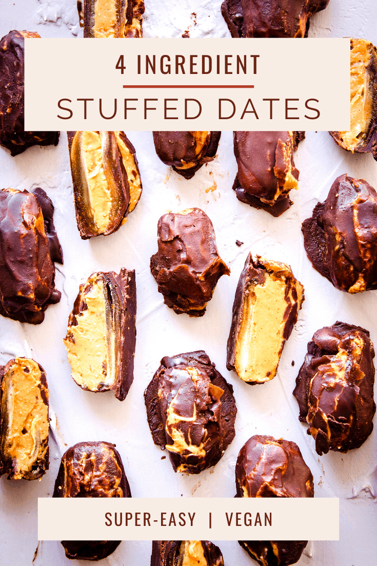 The perfect healthy snack or dessert, these dates are stuffed with peanut butter and coated in chocolate. Vegan, gluten free and refined sugar free. #dates #stuffeddates #vegan #healthy #sugarfree #chocolate #peanutbutter
