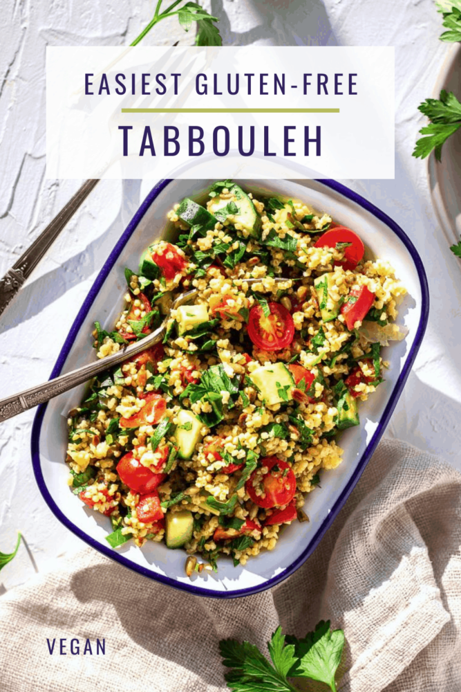 The easiest gluten free tabbouleh recipe you'll find! Made with millet instead of bulgur wheat, it's quick to make (10 minutes) and tastes great as a light dinner or hearty side dish. #tabbouleh #glutenfree #vegan #millet #quickrecipes #healthy #sidedish #dinner #lunch