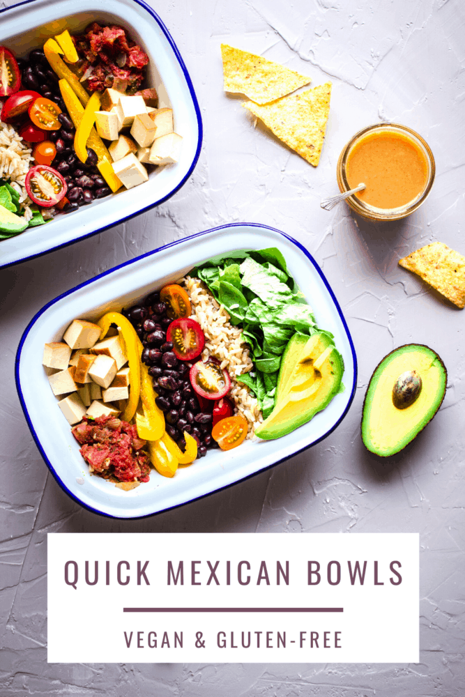 Keep nourished with these protein-rich Healthy Burrito Bowls, featuring smoked tofu, black beans, avocado, brown rice and tomatoes! They're easy to make and ready in less than 25 minutes. Completely vegan and gluten free and perfect as a simple weeknight dinner or packed lunch. #veganrecipes #mexicanfood #mealprep #packedlunch #dinner #lunch