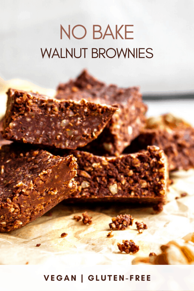 These easy No Bake Walnut Brownies are made with just 5 simple ingredients and are completely raw and refined sugar free. They're great as a healthy vegan dessert or snack. #dessert #brownies #raw #vegan #glutenfree #chocolate #snack #healthy #sugarfree