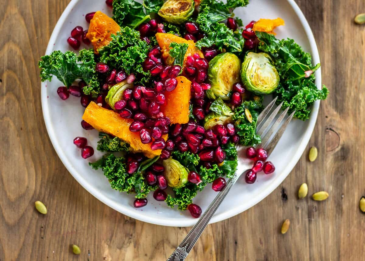 Winter Jewel Brussels Sprout Salad by Vancouver with Love - How to Go Vegan in 2021.