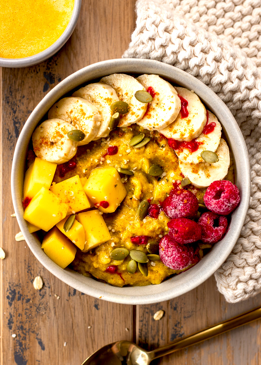 Overhead view of vegan and gluten free Golden Turmeric Oatmeal Recipe by Vancouver with Love