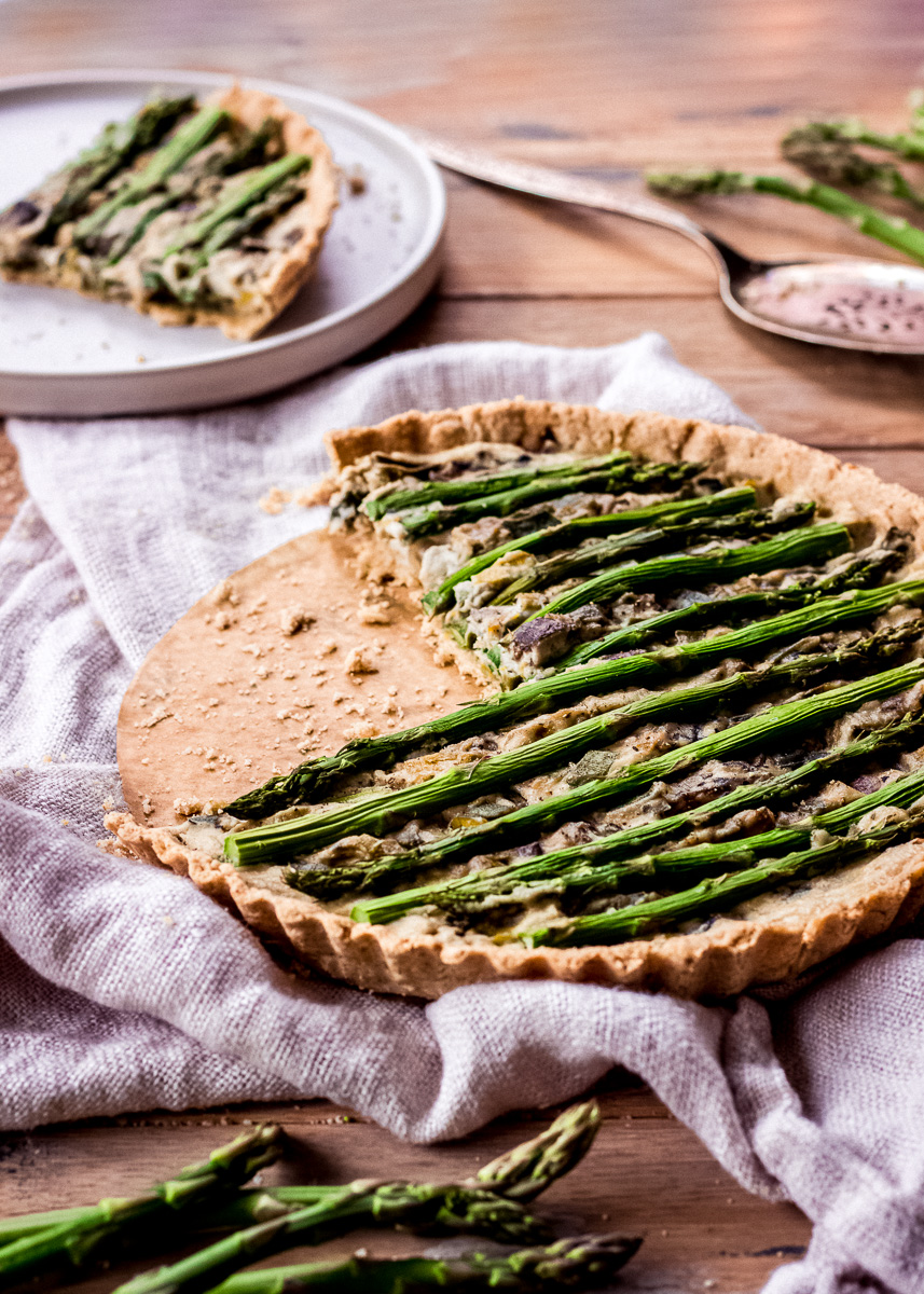 Close up shot of Asparagus & Leek Vegan Quiche (gluten free) by Vancouver with Love.