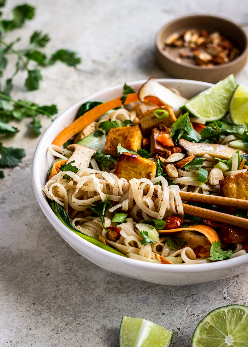 Close up image of Almond Butter Tofu Noodles by Vancouver with Love