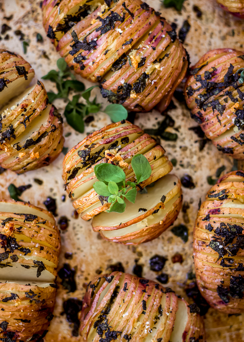 Overhead image of Sage & Garlic Hasselback Potatoes (vegan & gluten free) by Vancouver with Love