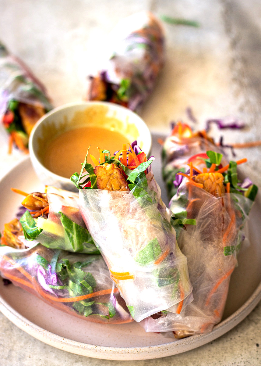 Side view of Vegan Spring Rolls with Peanut Sauce by Vancouver with Love
