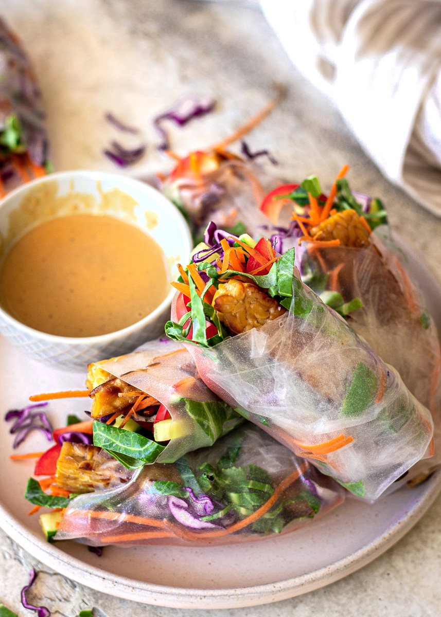 Close up view of Vegan Spring Rolls with Peanut Sauce by Vancouver with Love